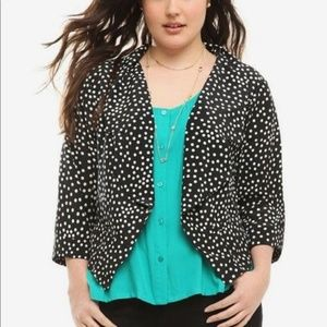 Torrid Polka Dot Open Blazer Jacket